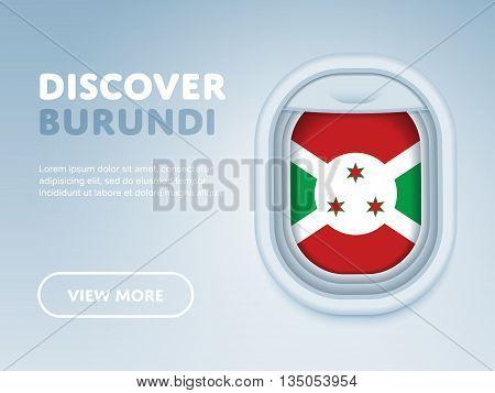 Flight to Burundi traveling theme banner design for website, mobile app. Modern vector illustration.