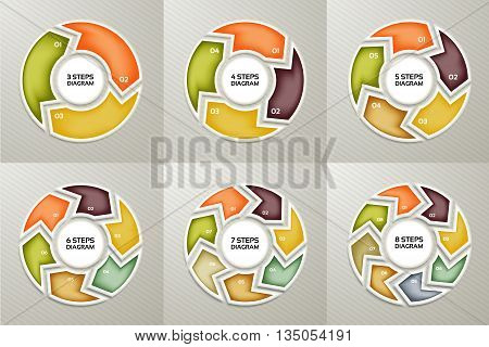 Vector circle arrows sign infographic set. 3 4 5 6 7 8 options parts steps. Cycle diagram symbol graph puzzle presentation round chart. Business infographics concept template with data processes.