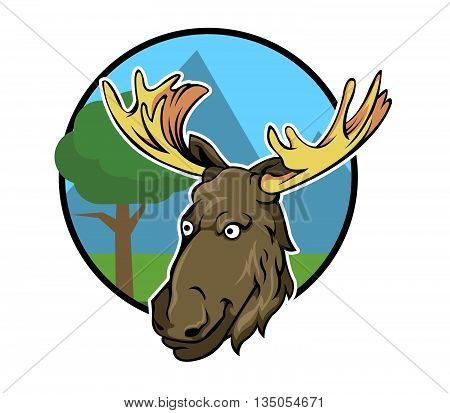 Vector illustration of big horn forest deer