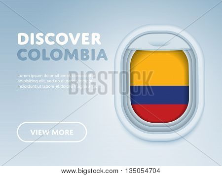 Flight to Colombia traveling theme banner design for website, mobile app. Modern vector illustration.