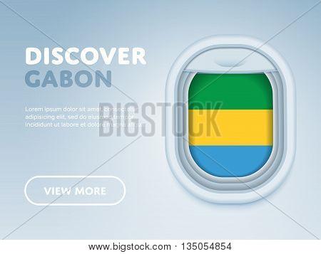 Flight to Gabon traveling theme banner design for website, mobile app. Modern vector illustration.
