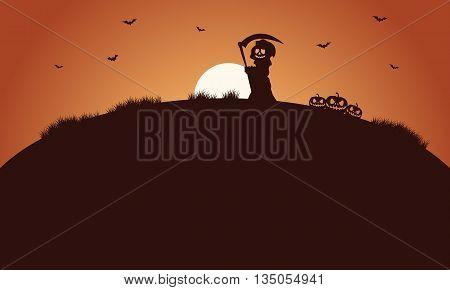 Silhouette of warlock and bat halloween in fields