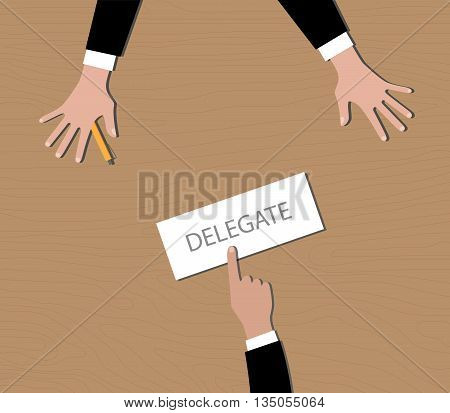 delegate your work to your employee vector graphic illustration