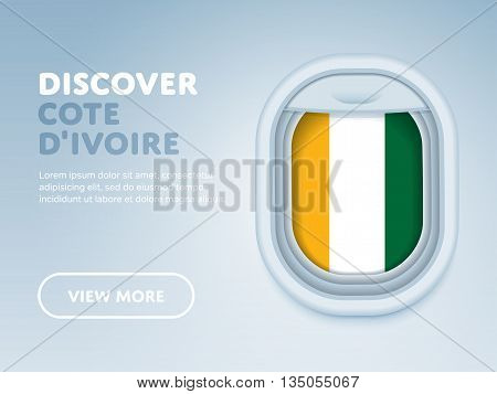Flight to Cote d'Ivoire traveling theme banner design for website, mobile app. Modern vector illustration.