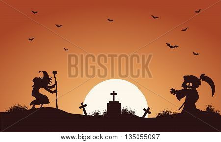 Halloween warlock and witch silhouette vector illustration