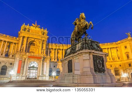 Statue of Emperor Joseph II Hofburg Palace Vienna Austria.