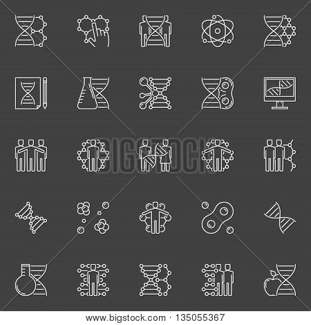 DNA and genetics linear icons. Vector white human cloning concept symbols. Biotechnology outline signs on dark background