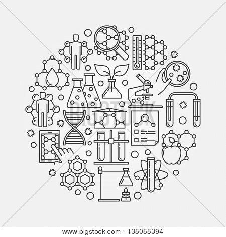 Microbiology and biotechnology illustration - vector round concept symbol or sign made with thin line bio technology icons
