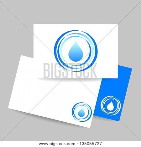 Aqua water drop. Concept business card design for mineral water, eco drink, bio liquid, aqua product and etc. Vector graphic illustration.