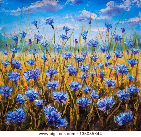 Flowers field palette knife art. Flower oil painting background. Landscape of blue flowers. Impressionist oil painting flowers.