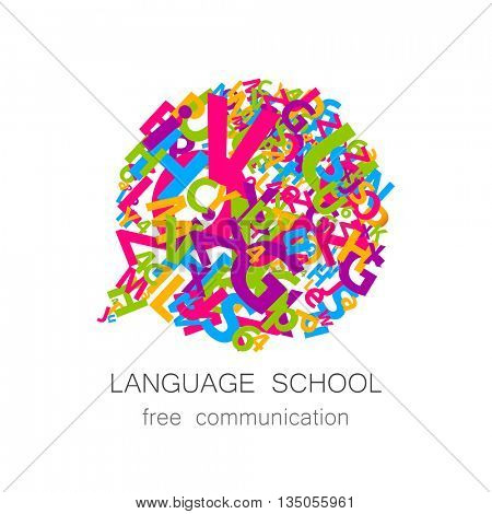 Language school logo template. Concept logotype design for Language School, translation, linguistic center, language teachers, international communication club. Vector.