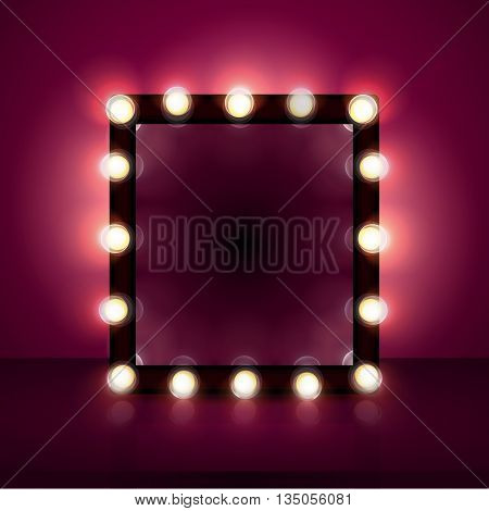 makeup mirror realistic vector, background, light, cosmetics