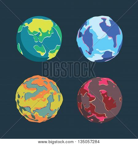 colorful Planets vector, space, Planet illustration, space