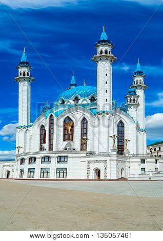 Kazan Kremlin, Russia. View of Qol Sharif Mosque and other historical buildings