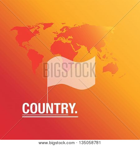 Country orange background with world map and white flag