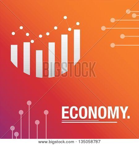 Economy orange background with statistics for business
