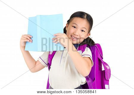 Cheerful asian primary student carried school bag