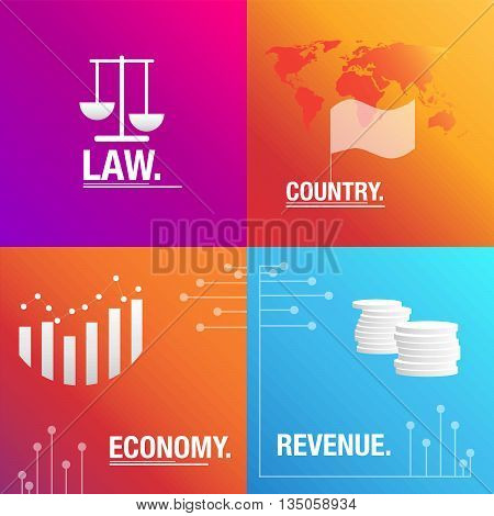 Politics background about revenue, law and economy