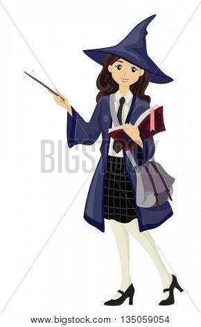 Illustration of a Teenage Girl Dressed as a Wizardry Teacher