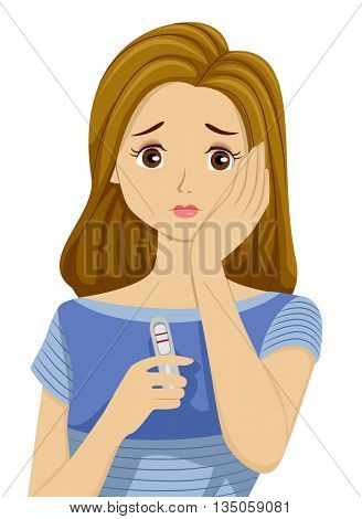 Illustration of a Teenage Girl Worried Over a Positive Pregnancy Test Result