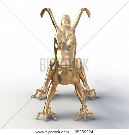 3d render. Golden statue of a Chinese dragon from the front. Muzzle with long horns and without beards. Fancy feet with thin fingers