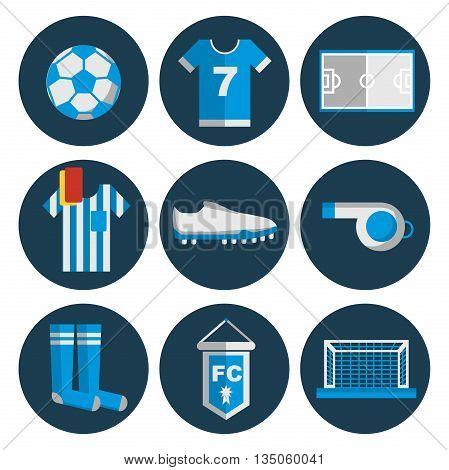 Flat Design Football. Soccer Icons Set. Vector illustration, EPS 10