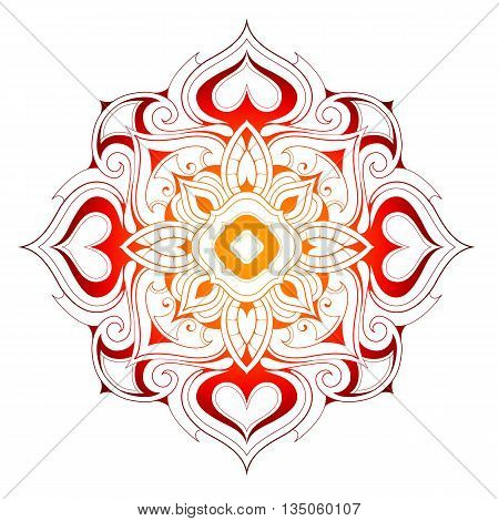 Mandala shape with elegant floral elements in orient style