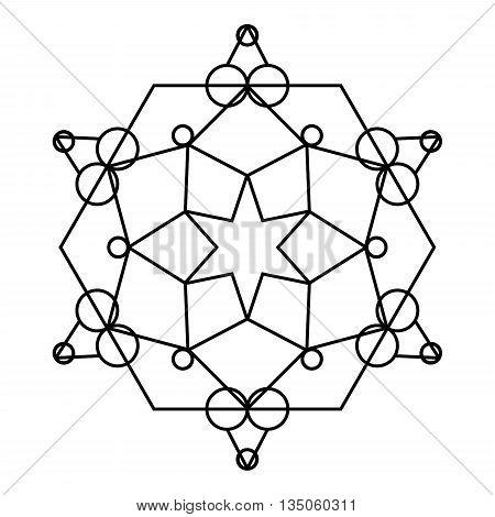 Sacred geometry vector art black lines on white.