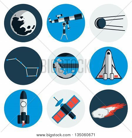 Flat design icons of space and astronomy. Vector illustration, EPS 10