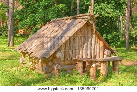 The little log house on a meadow of the forest