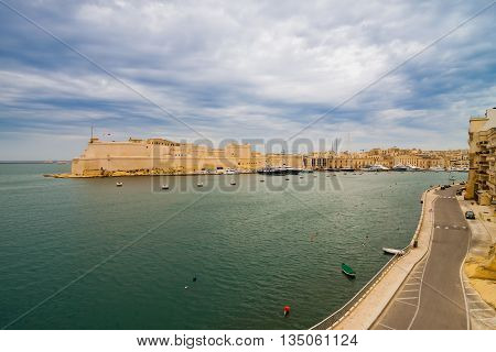 Birgu, Malta - May 7, 2016: View Of Fort St Angelo.