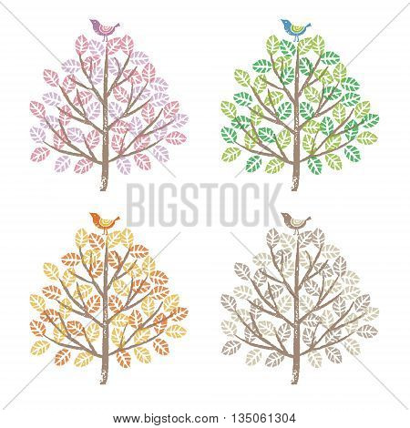 Four seasons spring summer fall and winter colorful trees and birds