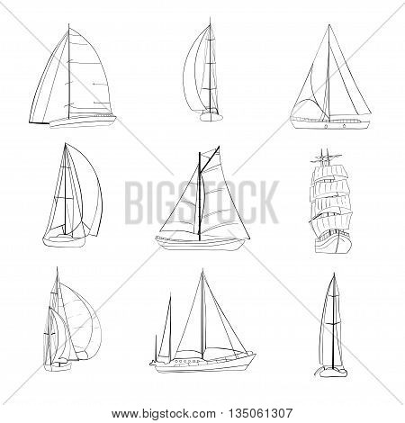 Set of 9 boats with sails made in the vector isolated on white background. Sport yacht, sailboat. Contour drawing