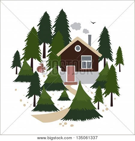 Wooden house with a chimney in the coniferous forest. Small house of the forester or hunter. To the house leads a path. In the forest lives squirrel. Objects are arranged in a circle. Vector illustration in cartoon style.