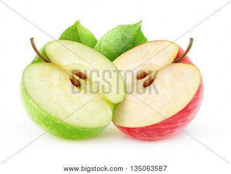 Two Isolated Apple Halves