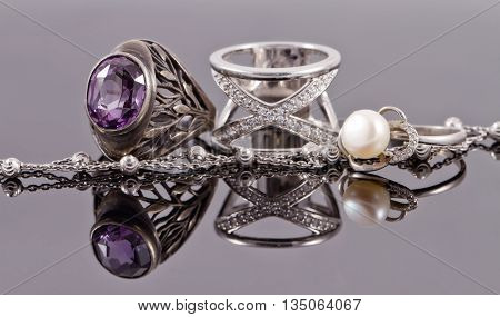 Silver Rings Of Different Shapes