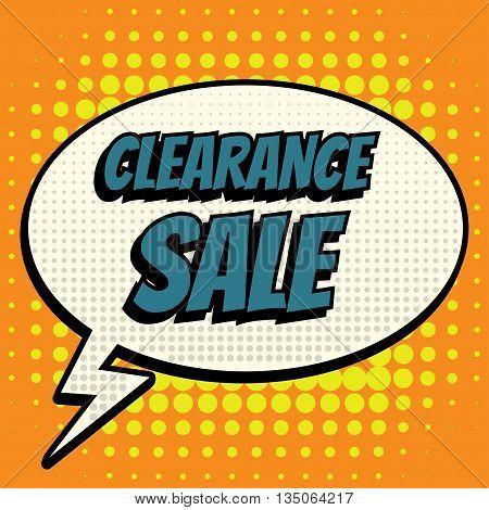 Clearance sale comic book bubble text retro style
