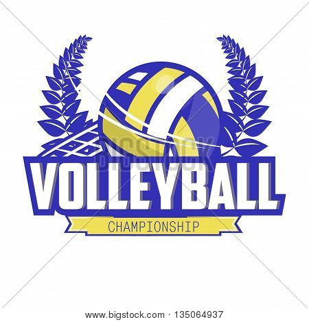 Volleyball championship logo with ball and laurel wreath. Sport badge for tournament or championship. Vector Illustration. Isolated on White.
