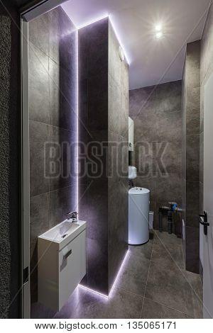 Modern Black Boiler Room With Led Light