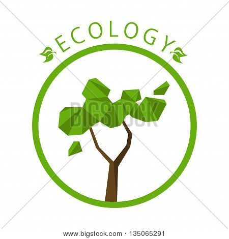 Ecology concept with polygon tree background. Vector illustration.