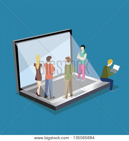 Flat web isometric people on a laptop infographic concept vector.