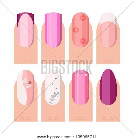 Female manicure set. French manicure style as icons set in color and flat style Vector illustration