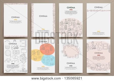 Corporate identity vector templates set with doodles cinema theme. Target marketing concept