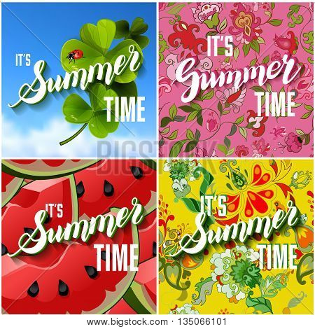 Vector Set of Colorful Bright Lettering Summer Cards. Beautiful Summer Posters or Flyers with Watermelon Background, Floral Pattern, Fresh Clover with Ladybug on Blue Sky Backdrop and Hand Written Text. Vector Illustration.
