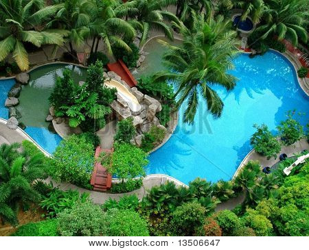 top view of beautiful swimming pool