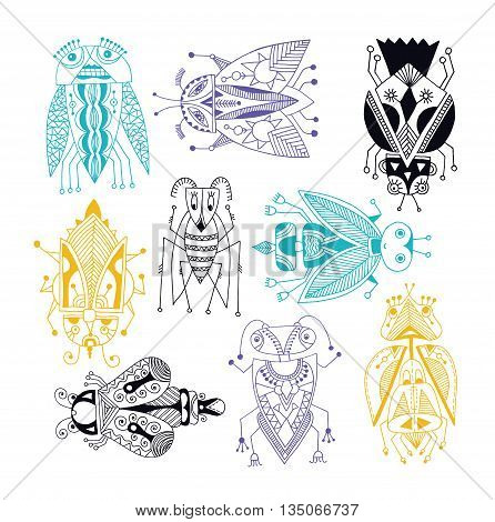 handmade liner drawing of ethnic beetle in flat style, line art design, modern sketch insect vector illustration