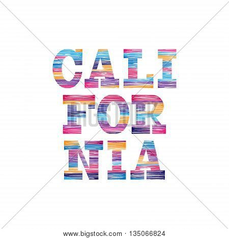 California Typography Graphics. Concept in vintage style for print production. T-shirt fashion Design. Template for poster print banner flyer.