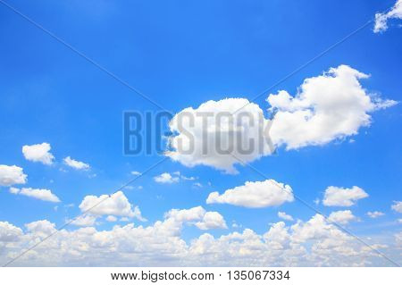 Sky background. The blue sky and white clouds.