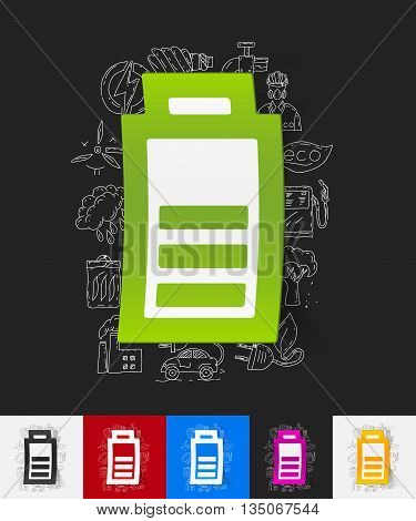 hand drawn simple elements with charge the battery paper sticker shadow