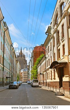 Old street near Arbat - centre of Moscow Russia